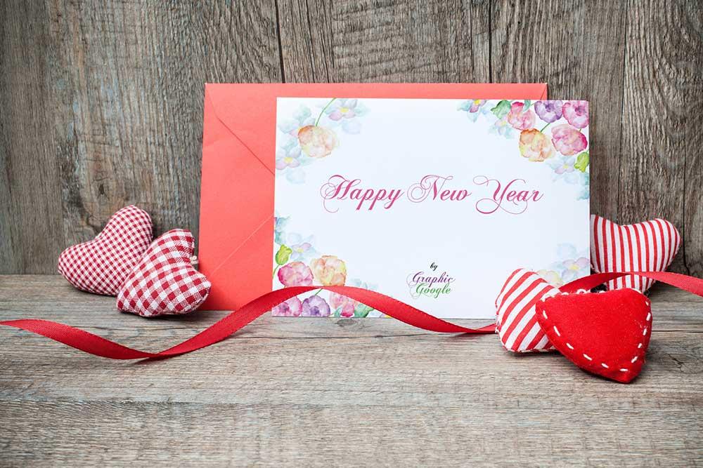 Free New Year Greeting Card Mockup Mockuptree Design Mockup Free Valentine Greeting Cards New Year Greeting Cards