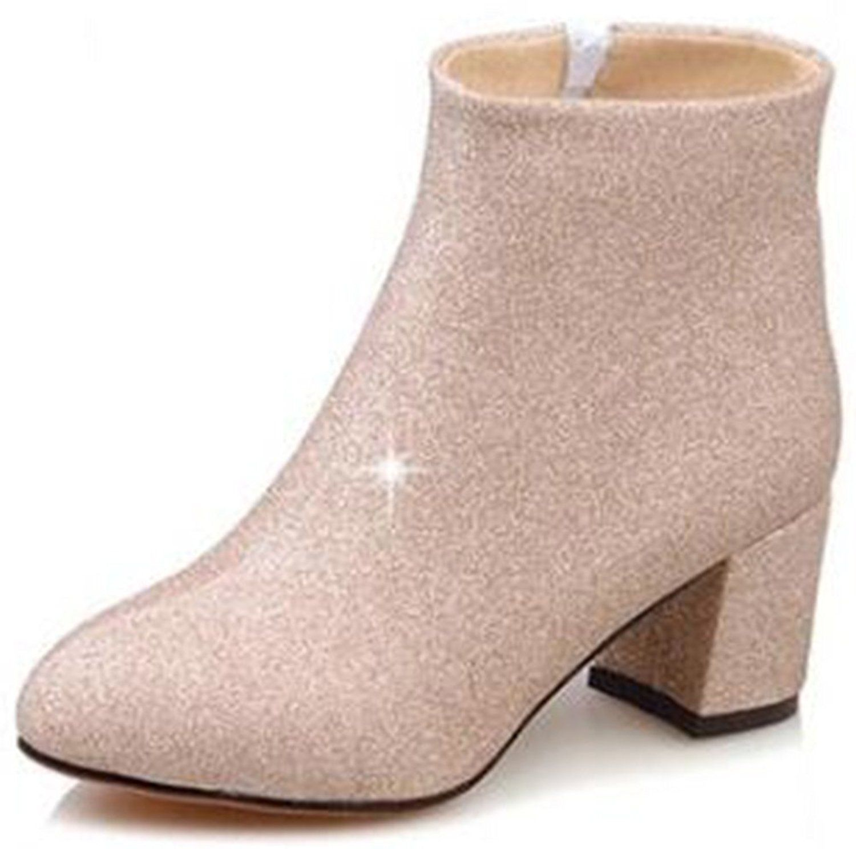Women's Elegant Glitter Side Zipper High Chunky Heel Pointed Toe Mid Calf Boots