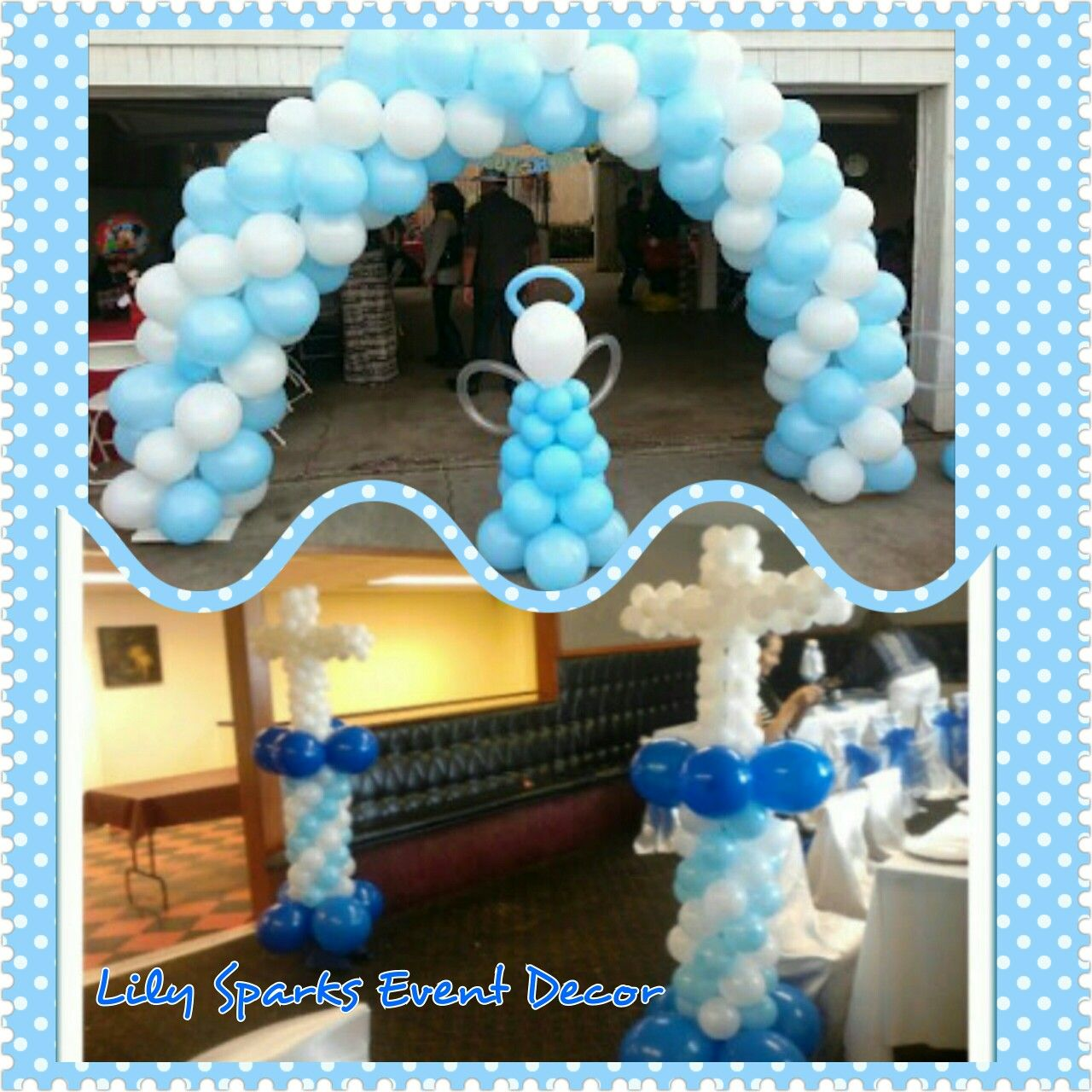 Baptism first communion balloon decor pinteres for Balloon decoration ideas for christening