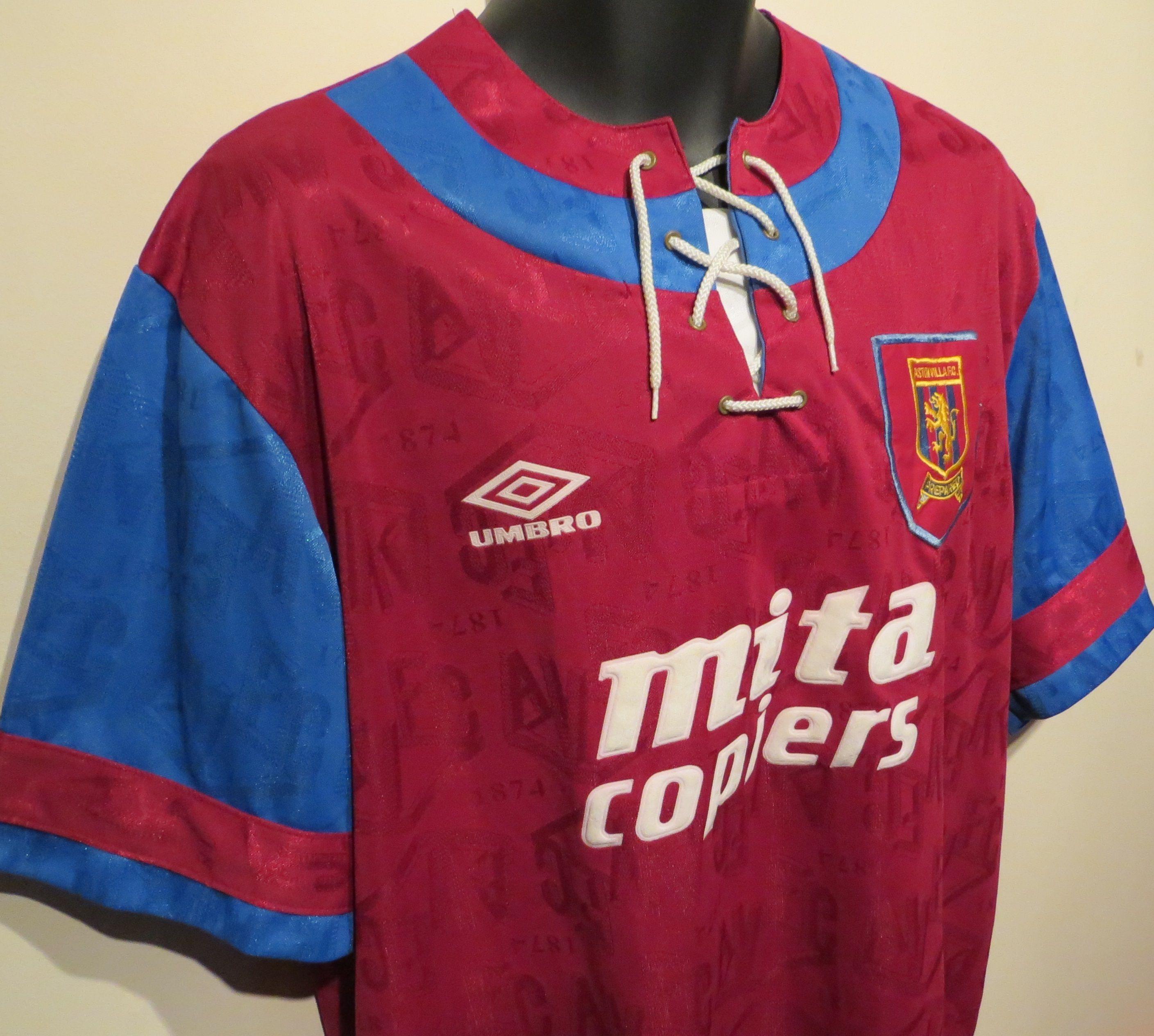 02331e720 1992-93 Aston Villa home shirt by Umbro. #BigRon | Retro Football ...
