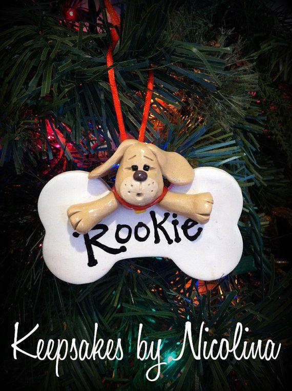 Personalized Puppy Dog Bone Ornament by KeepsakesByNicolina, $10.00