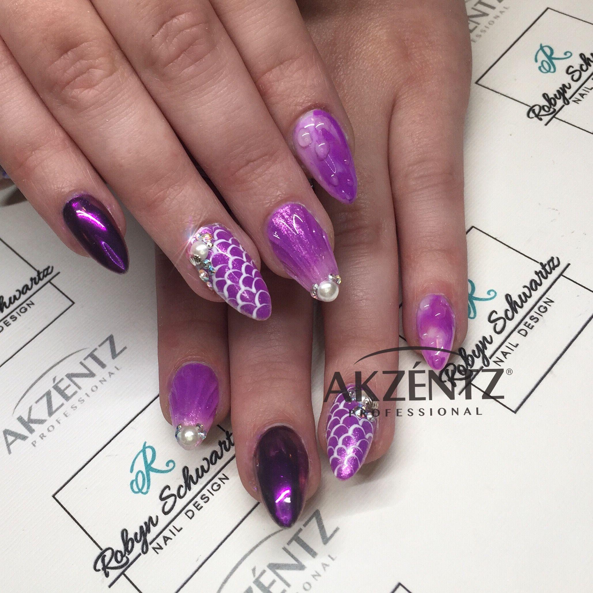 Shell and mermaid nails oval gel nails blingy nails pinterest
