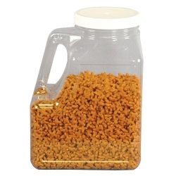 Clear container has an easy to grip handle molded in Clear plastic