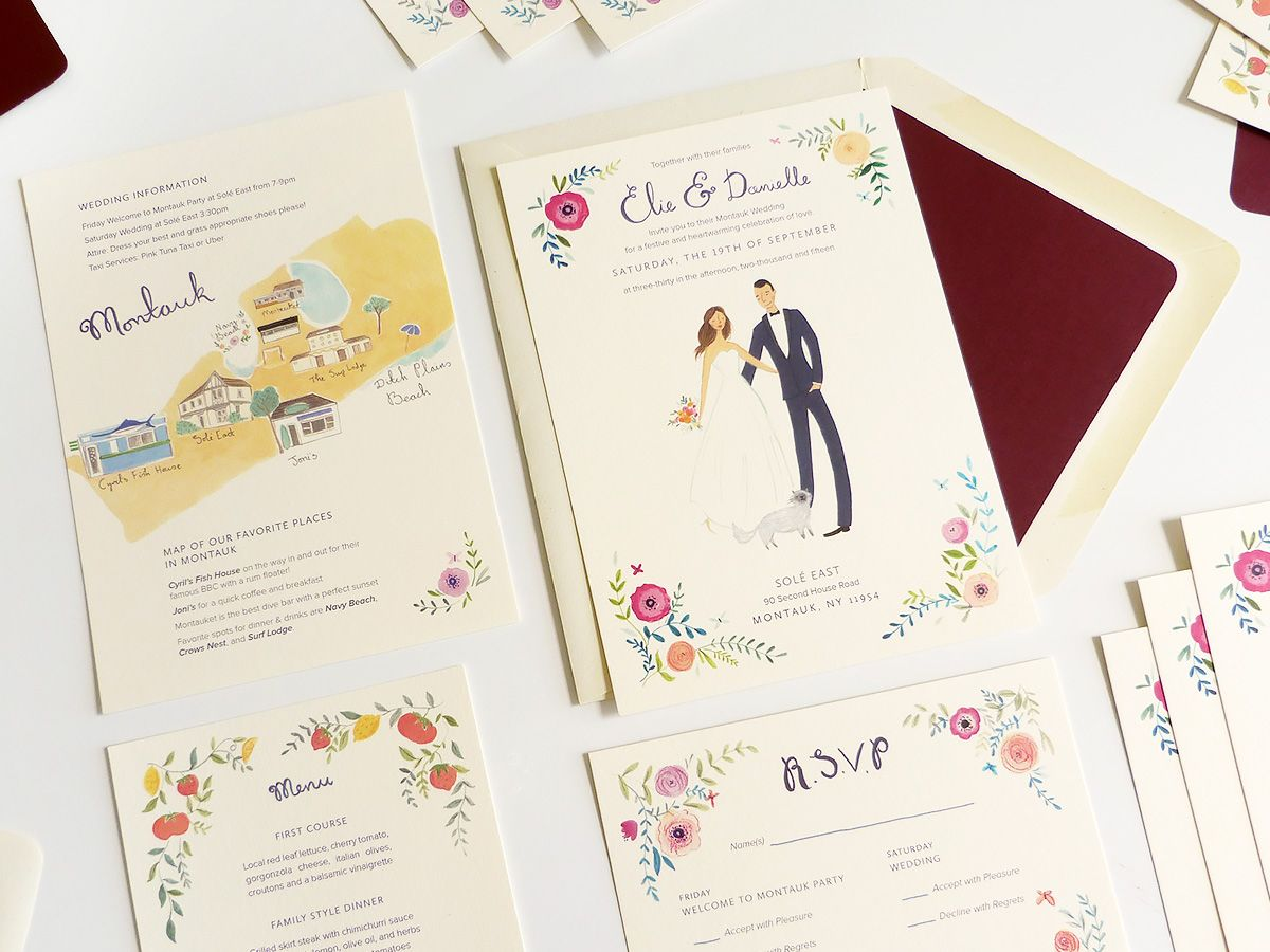 wedding invitations map%0A Emma Block illustrated custom wedding stationery  portrait  map  rsvp   invitation