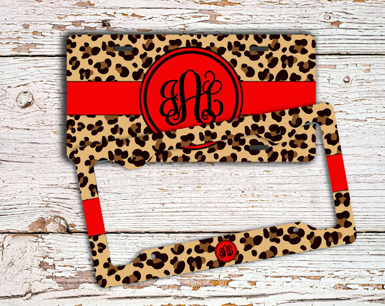First car gift for girls, Cheetah license plate or frame, Personalized car tag, Monogram Car accessories, Bike ATV license plate red (1422) by ToGildTheLily on Etsy