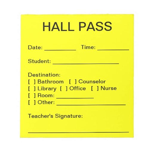 Hall Pass Pad Zazzle Shopping / Gift Ideas Hall pass, Memo