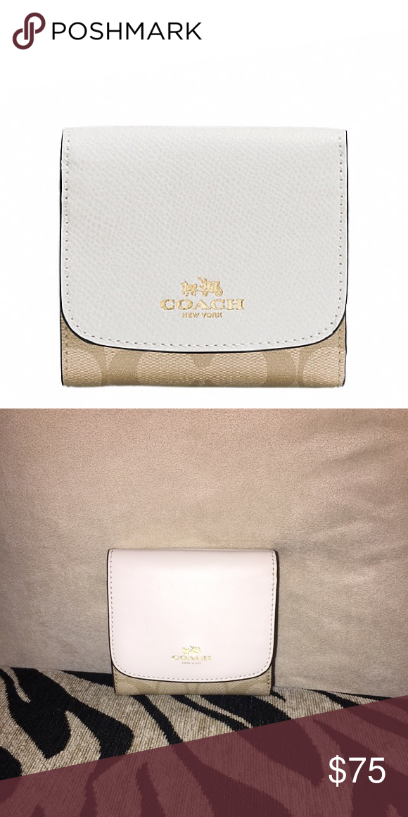 4e343028007e Coach Small Wallet in Signature Signature coated canvas Nine credit card  pockets Full-length bill compartment Outside pocket Snap closure 4 1 4
