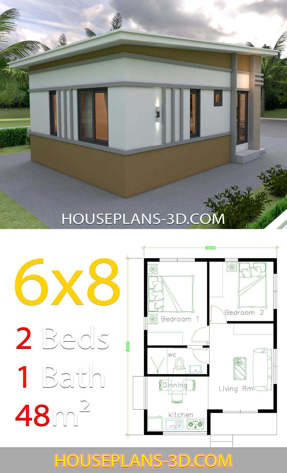 Small House Design Plans 6x8 With 2 Bedrooms House Plans 3d In 2020 House Plans Small House Design Plans Small House Design
