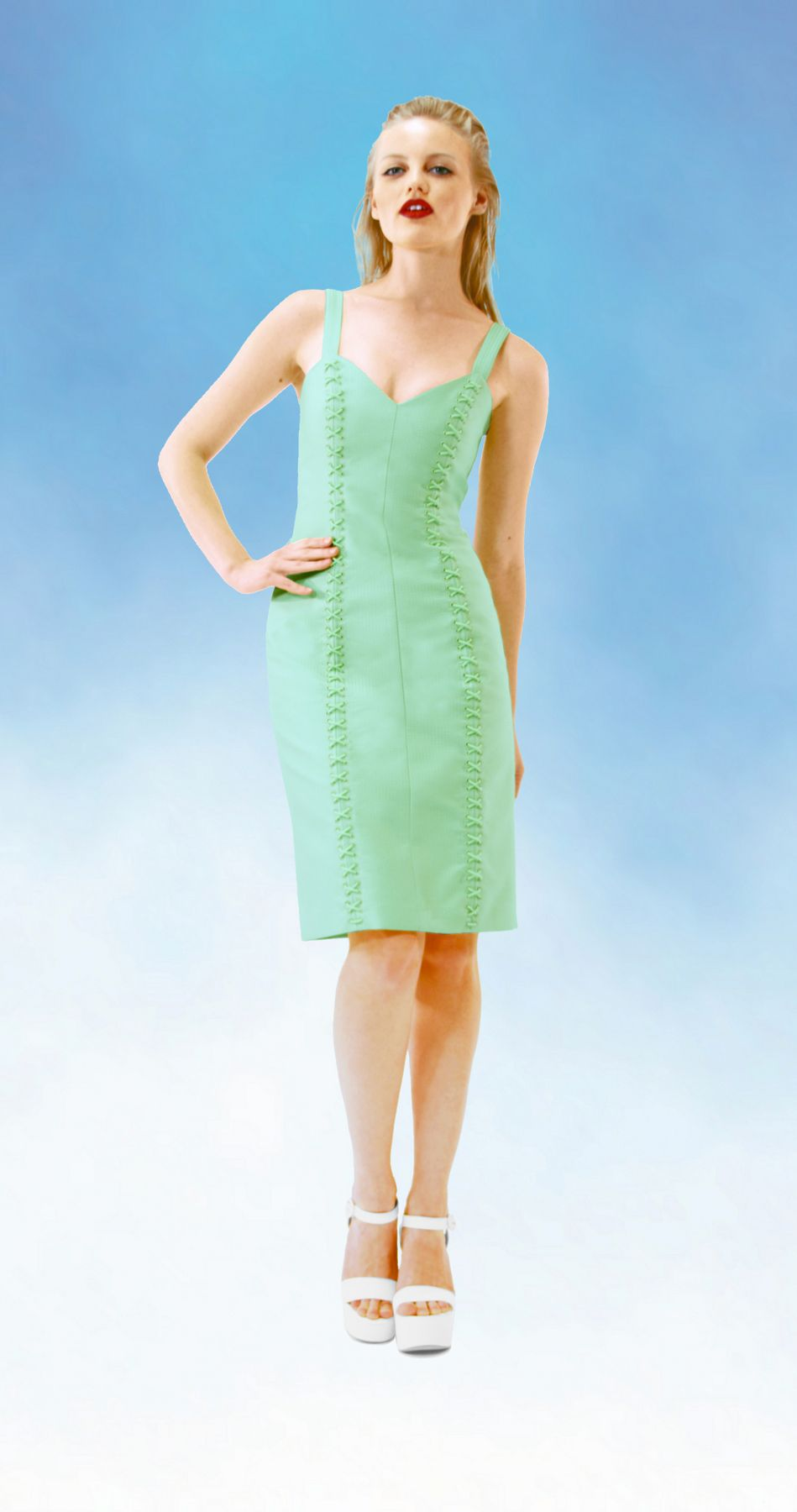Green lace up dress  DEIVIE SS  Electric pencil dress green dress lace up dress