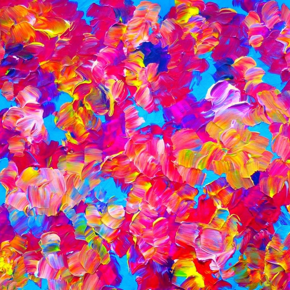Title floral fantasy artist julia di sano owner for Bright flower painting