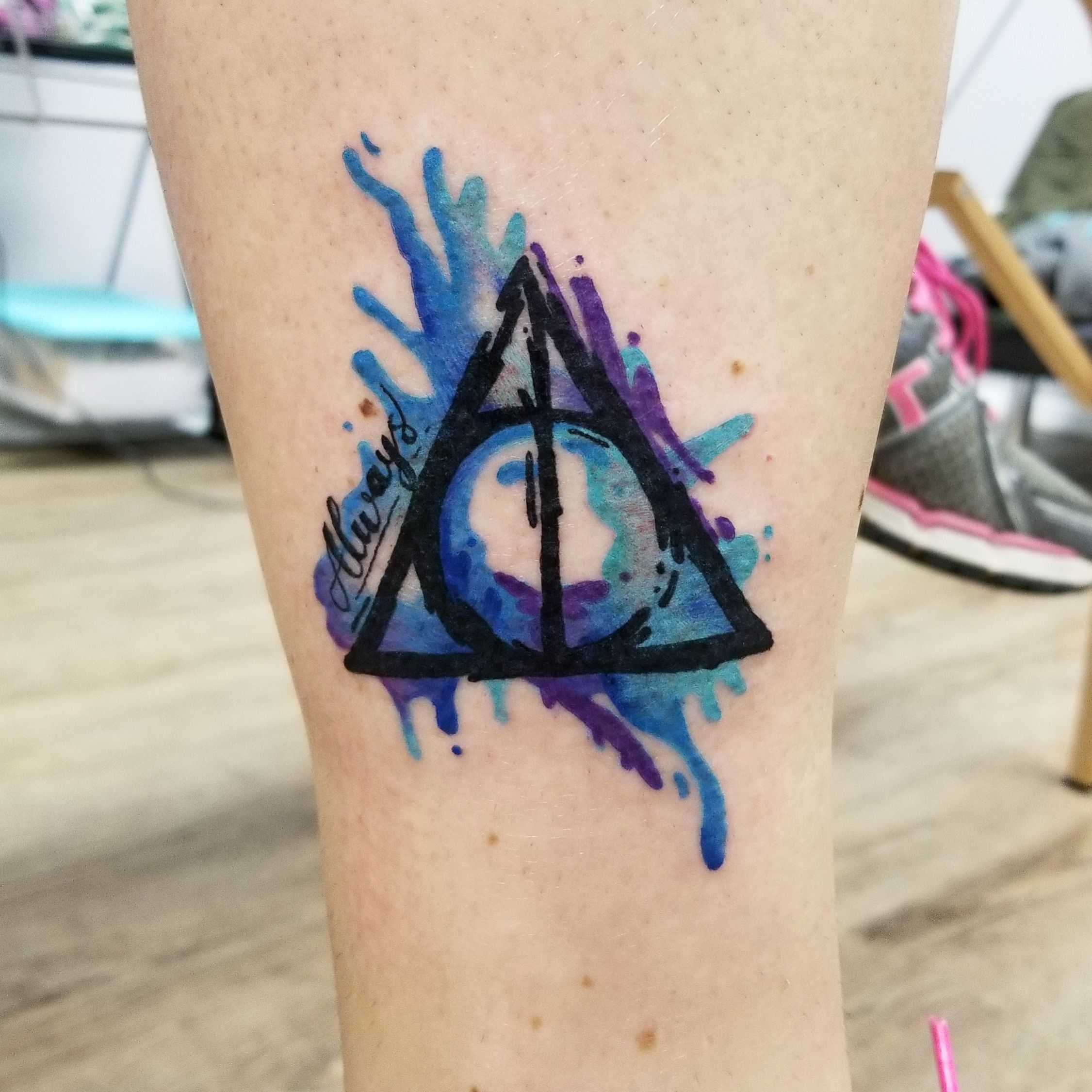 Watercolor Harry Potter Deathly Hallows Tattoo