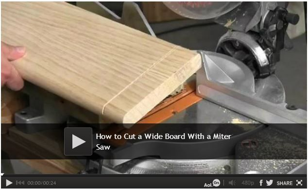 #Video: How to Cut a Wide Board With a Miter Saw - The Family Handyman carpentry expert, Mark Petersen, will show you how to cut boards that are wider than what your miter saw was designed for.  Watch: http://www.familyhandyman.com/tools/miter-saws/how-to-cut-a-wide-board-with-a-miter-saw