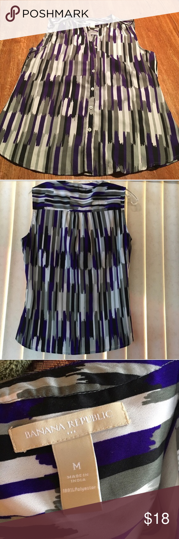 "Banana Republic Sleeveless blouse Top, size medium Grey, black and purple print make this blouse fun. Sleeveless, bust laid flat is 18"", and shoulder to hem is 24"". Banana Republic Tops Blouses"