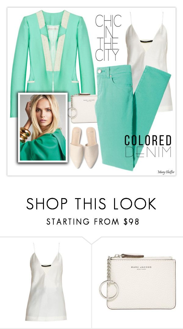 """Spring Trend: Colored Denim"" by mcheffer ❤ liked on Polyvore featuring Haider Ackermann, Marc Jacobs and coloredjeans"