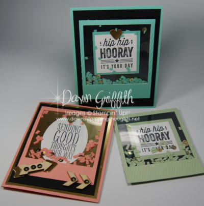 Stampin Up! On Film Famelits , Hip Hip Hooray Card kit , Window sheets , Fringe scissors , Gold Sequin Trim , Stampin' Up!  2014 Occasions catalog  SU! demonstrator Dawn Griffith
