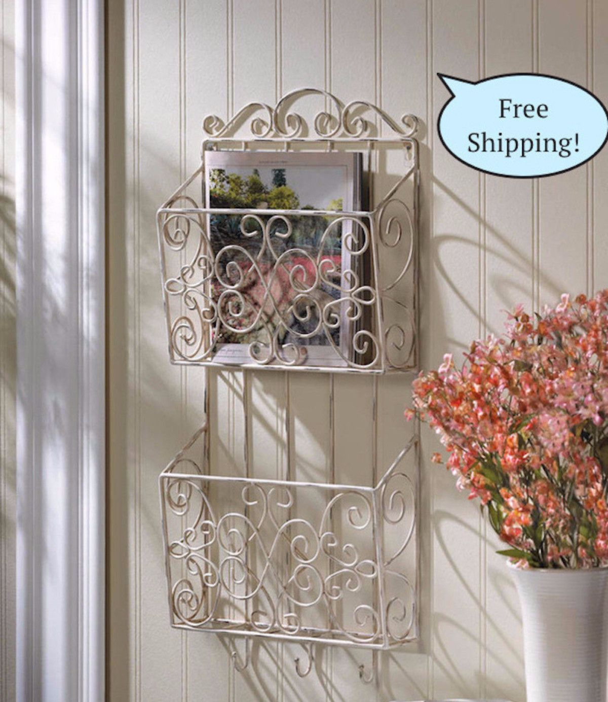 Awesome Shabby Cottage Chic Wall Organizer Rack
