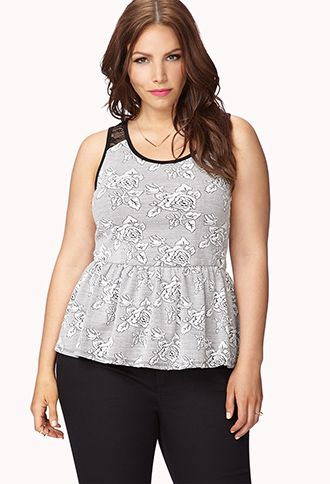 b38a7af0 Rose Jacquard Peplum Top | FOREVER21 PLUS - 2073351533 #ForeverHoliday