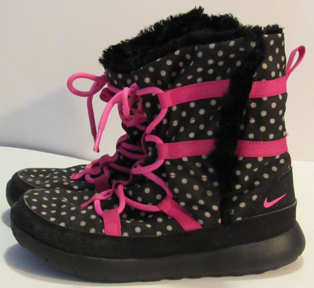 Nike Sneaker Boots Girls 3Y Black White Polka Dots Lace Up Fleece Lined  Fall Win