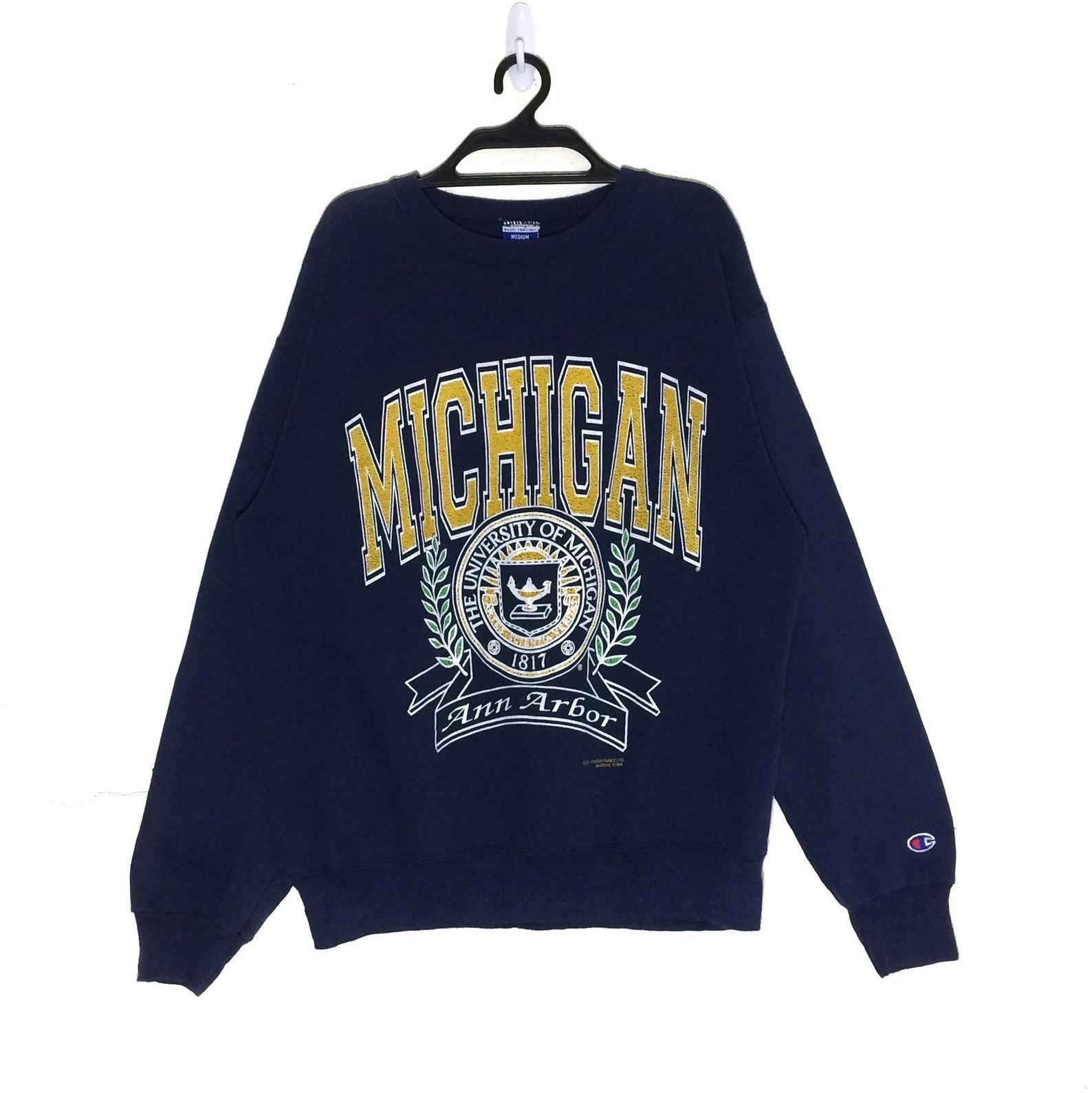 Rare Vintage The University Of Michigan X Champion Sweatshirt Crewneck Pullovers Jumper Jacket Usa Ann Arbor Sweatshirts Champion Sweatshirt Used Clothing [ 1590 x 1588 Pixel ]