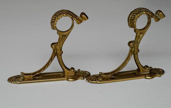 Vintage Brass Curtain Rod Holders Brackets Pair By Boulotdodo