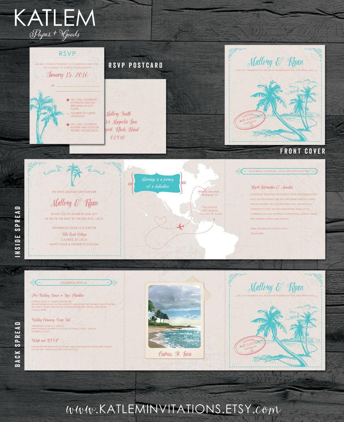 St Lucia Destination Wedding Invitation