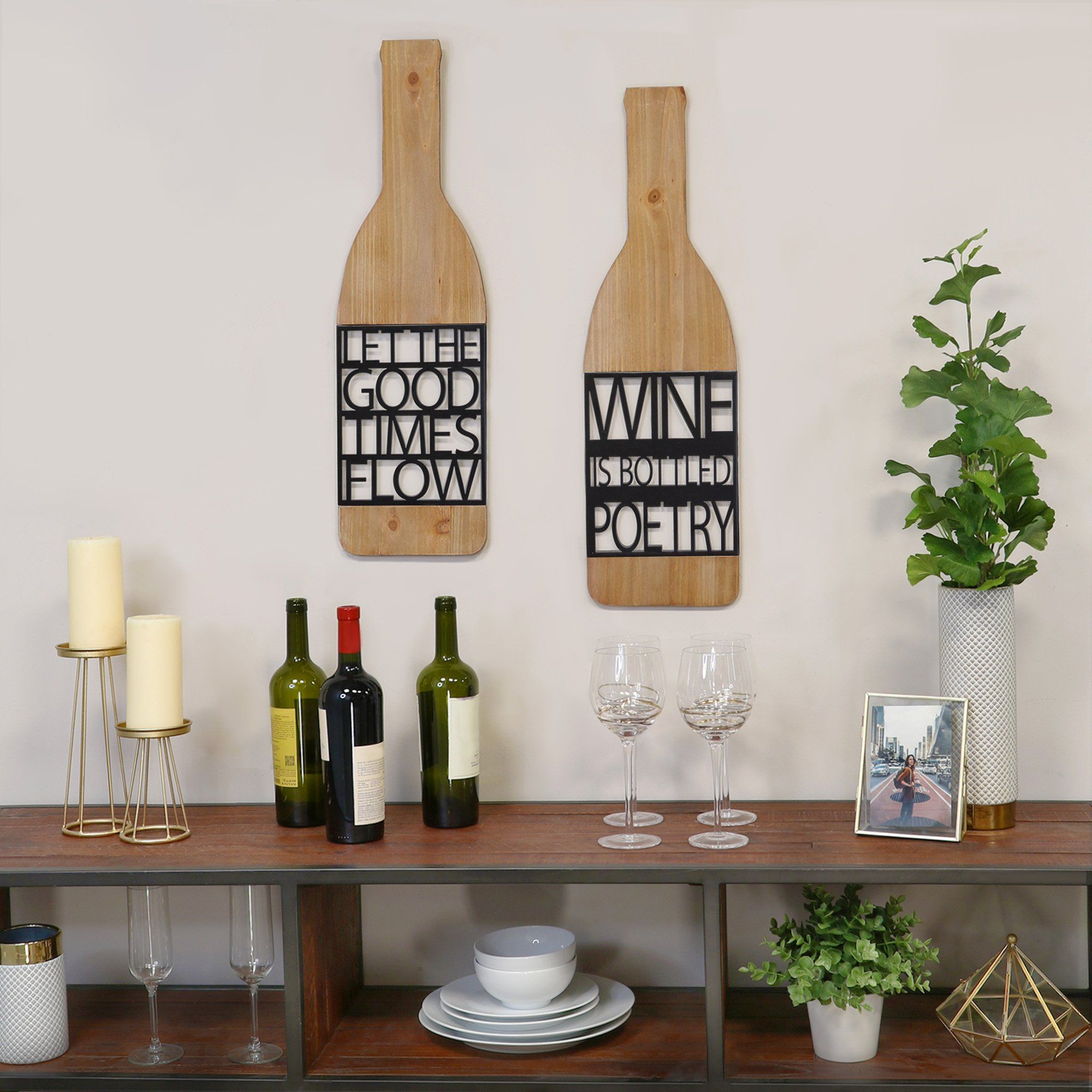 Photo of Rustic and Natural Wine Bottle Wood Wall Decor