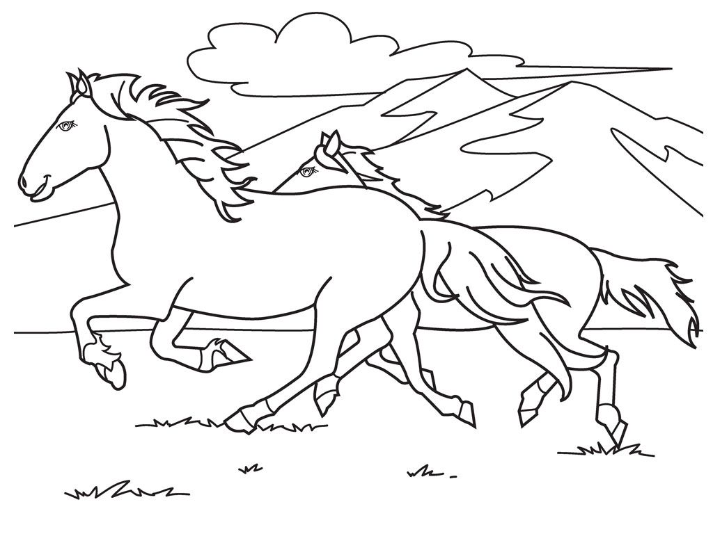 Horses Running Race Coloring For Kids