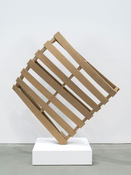 Matt Johnson - Twisted Pallet, 2016 bent white oak with stainless steel mount 65 ½ x 64 x 28 inches (166.4 x 162.6 x 71.1 cm); pedestal: 8 x 32 x 28 inches (20.3 x 81.3 x 71.1 cm)