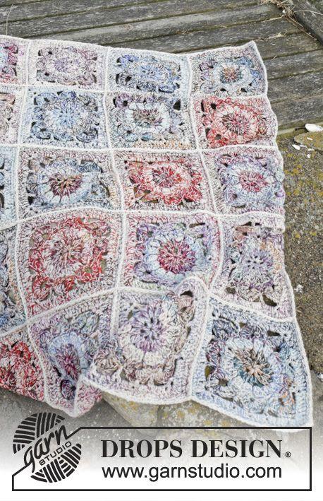 Winter Garden - Crochet DROPS blanket with crochet squares in 3 ...