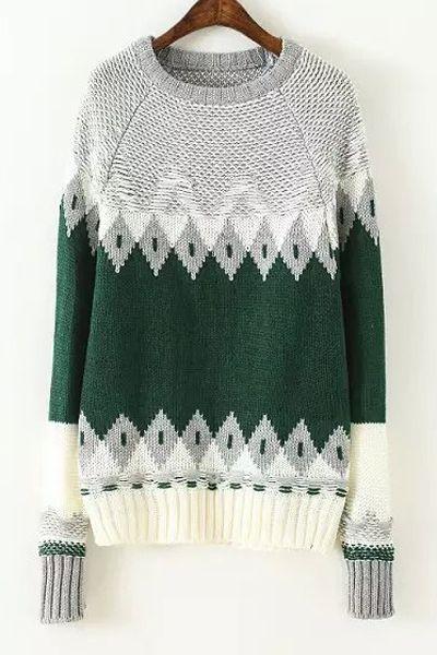 Color Block Geometric Pattern Round Neck Sweater