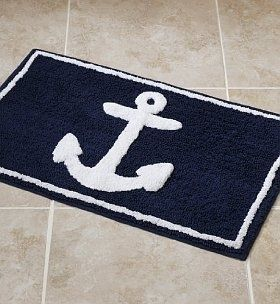Pin By ℳíɳɖy ʝᎧ On ʊηӄíᵴᵴє Ᏸєąɧ ℓíʋíηǥ - Navy blue and white bath rug for bathroom decorating ideas
