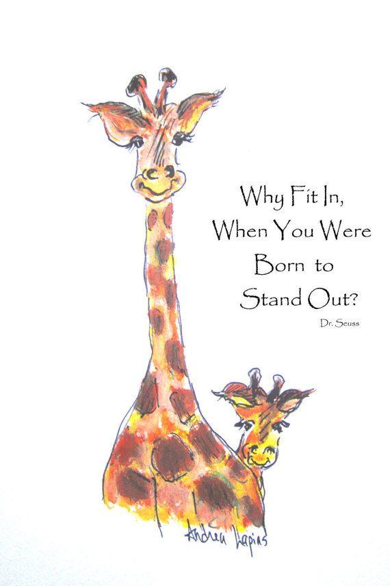 Giraffe Baby Nursery, Giraffe Art Print, Nursery Art, Dr ...