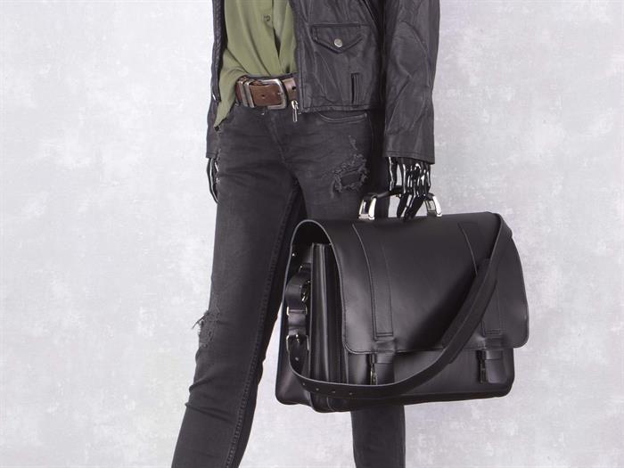 Aktentasche mit 2 Fächern Leder Herren Damen Schultasche Lehrertasche Businesstasche Tasche Umhängetasche schwarz