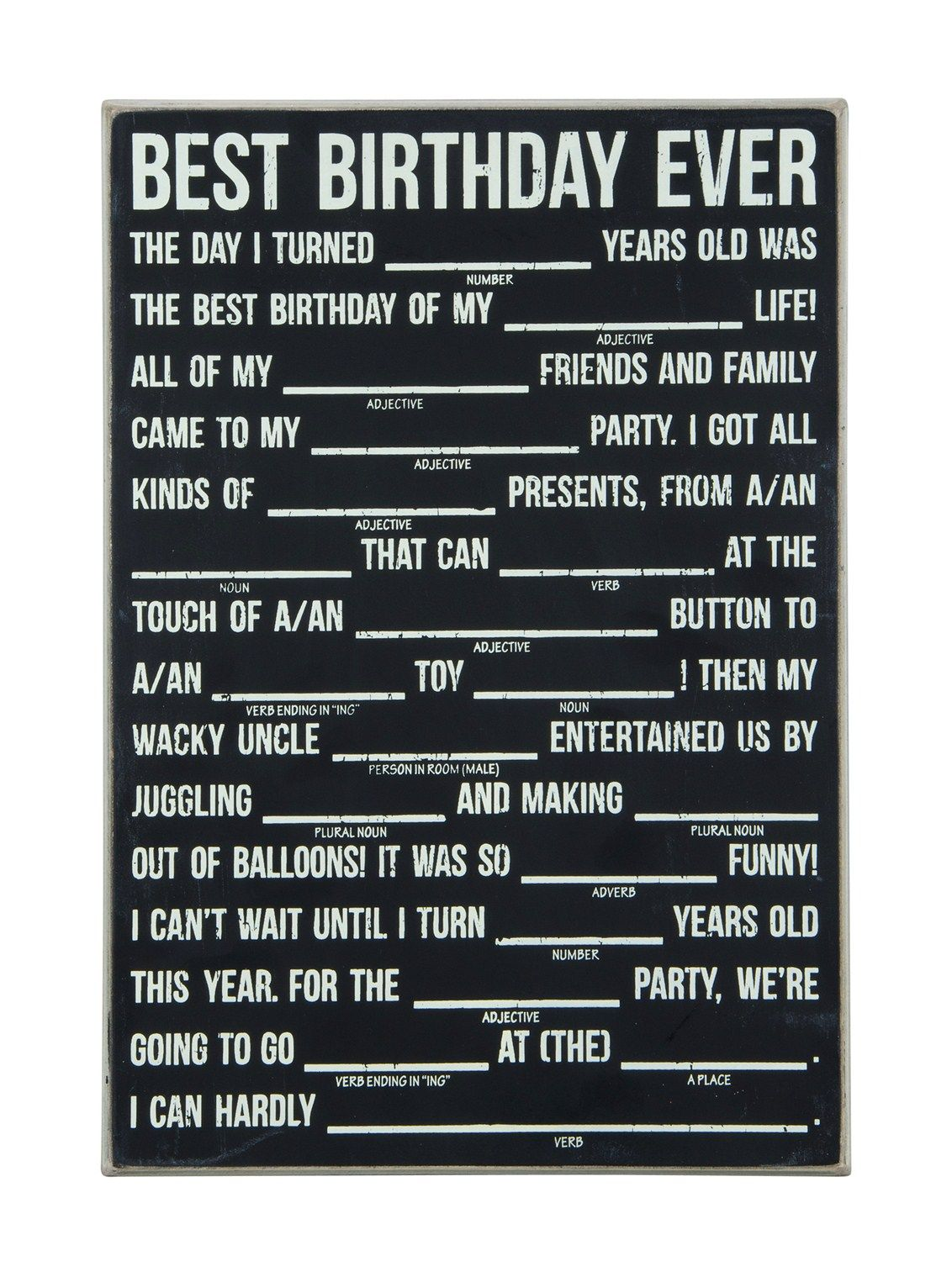 Birthday Mad Libs