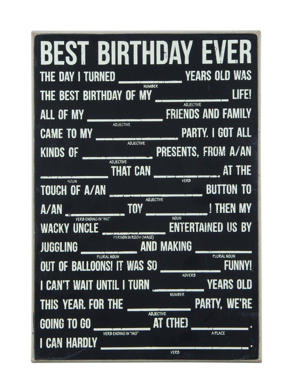 Birthday Mad Libs