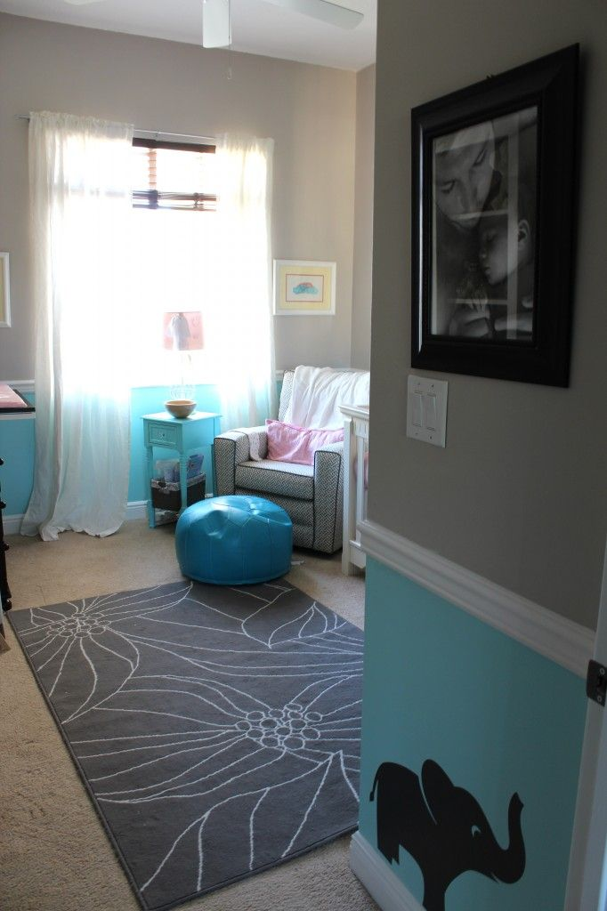 Nursery Gray Blue And White With Chair Rail Bold And Bright