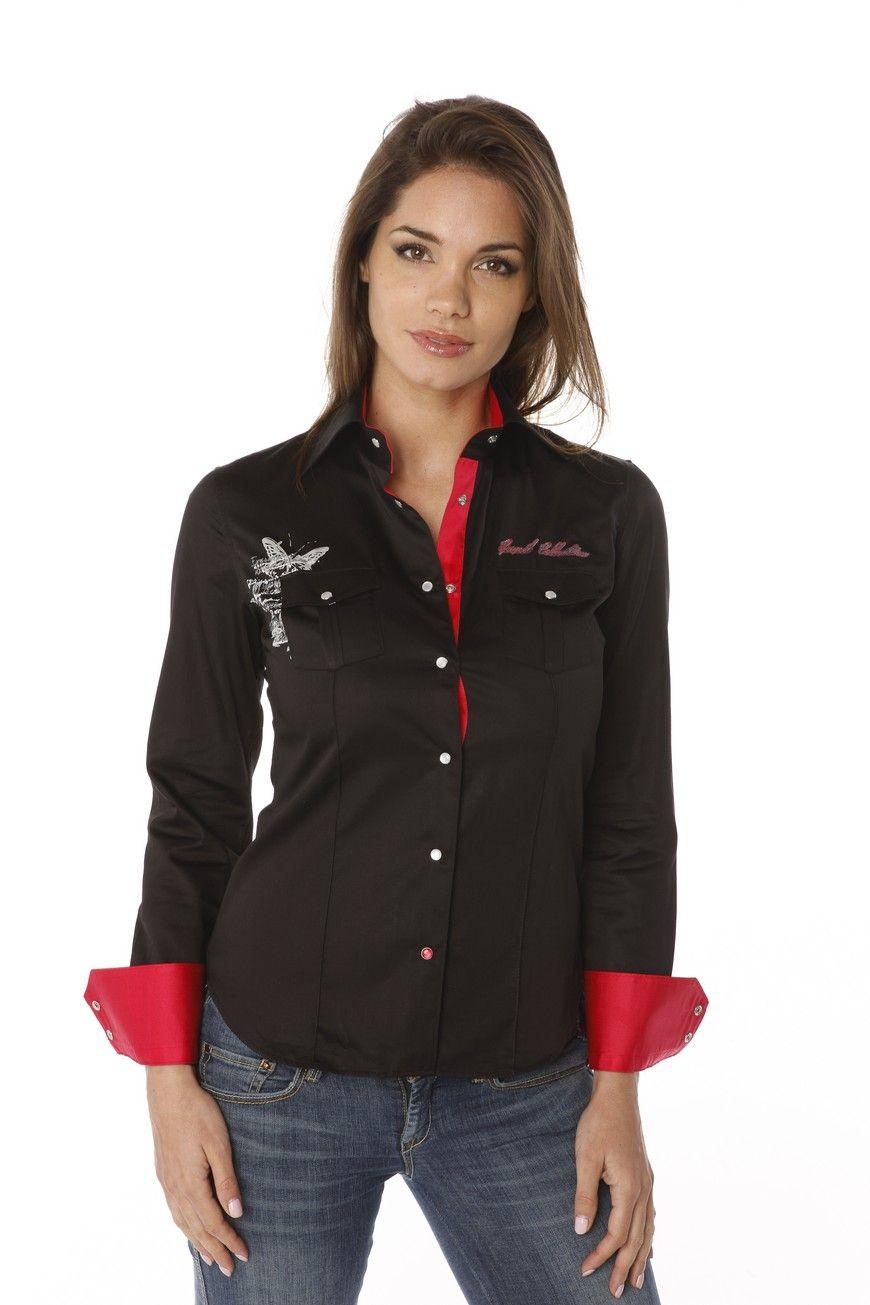 0516b89c0417c Chemise femme noire unie originale avec la broderie au poignet et son print  girly dans le dos ainsi que sa patte de boutonnage rouge.