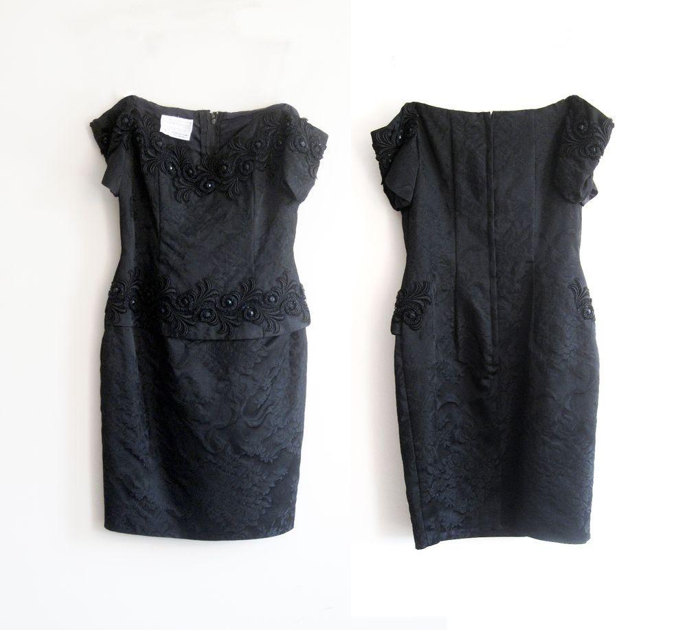 S prom party dress vintage strapless black brocade beaded scott