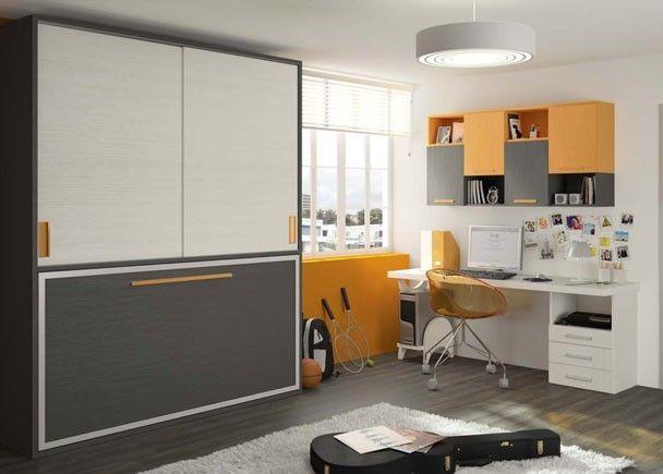 Cama abatible armario corredero y escritorio camas - Habitaciones juveniles camas abatibles horizontales ...