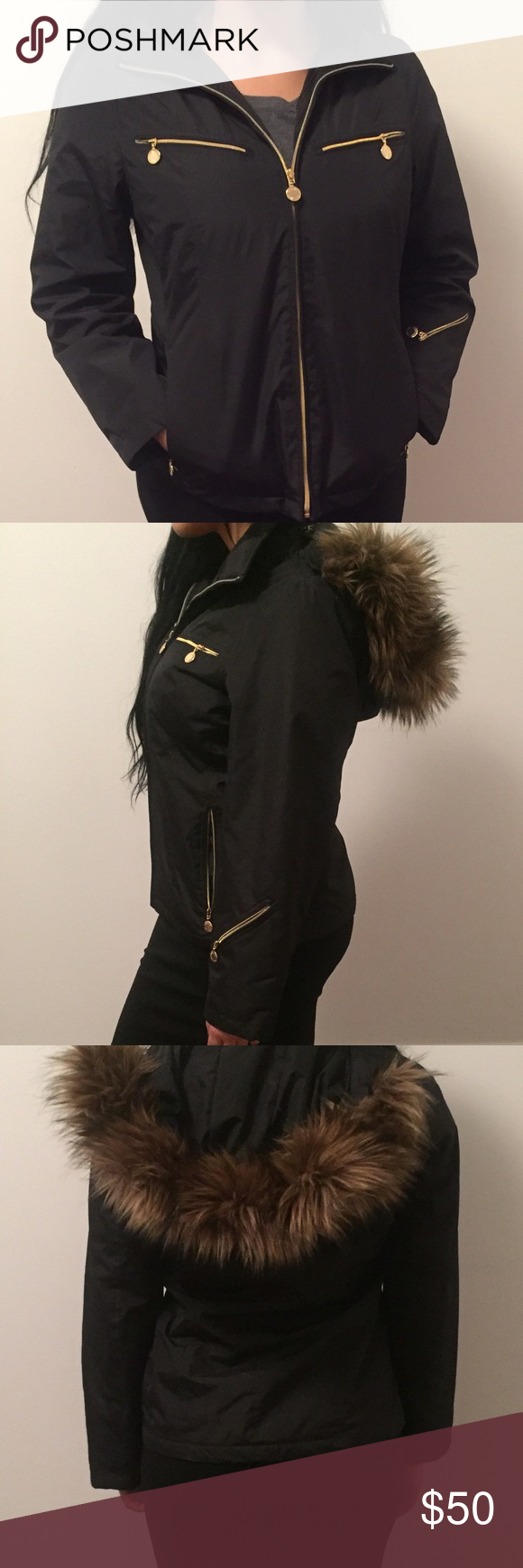 Calvin Klein Jacket with removable fur hat Calvin Klein