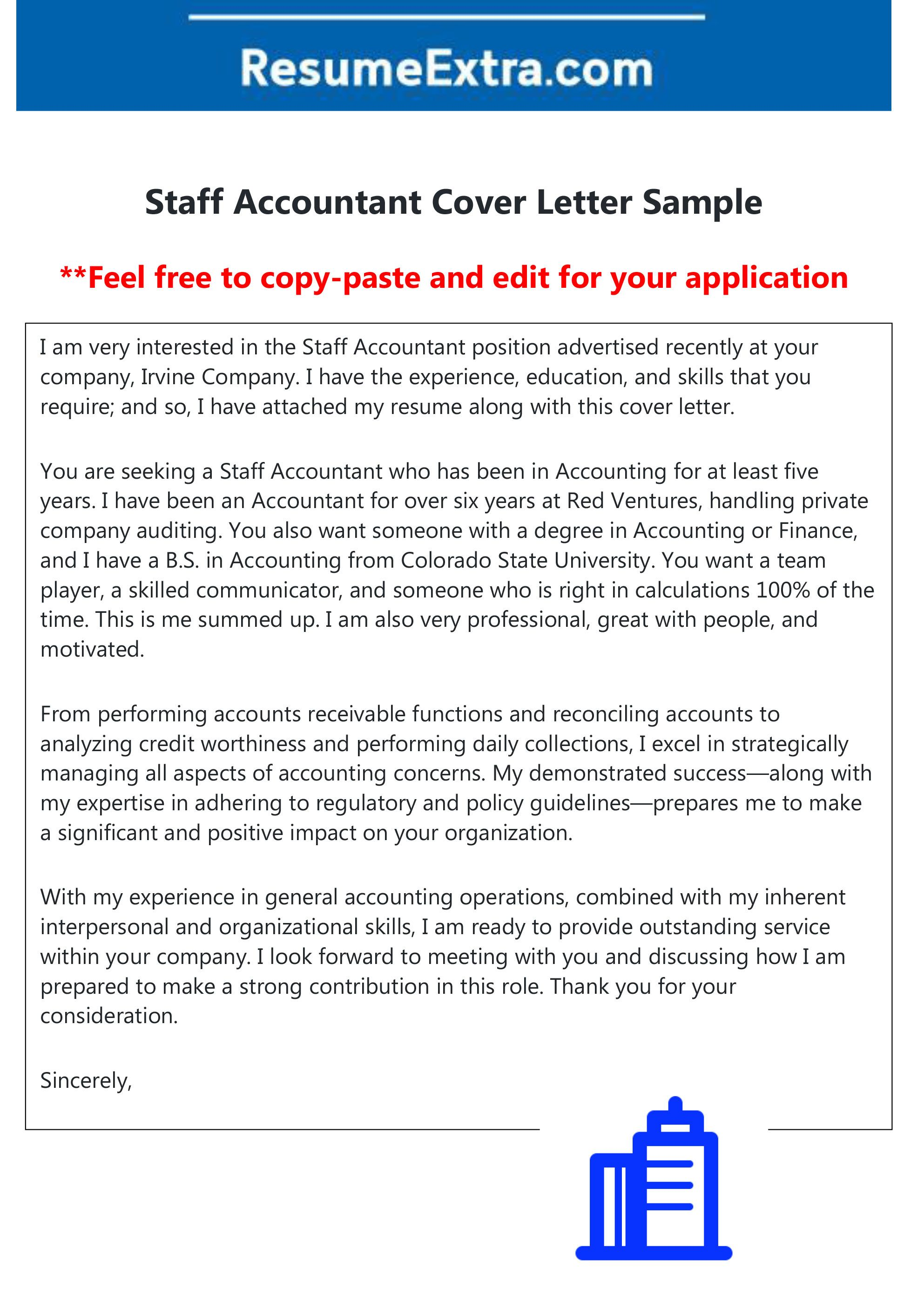Here is a free sample of staff accountant cover letter
