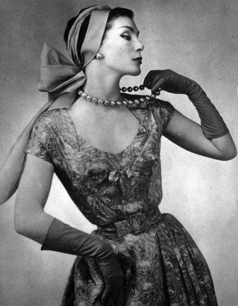 Model wearing a dress by Jean Patou for La Femme Chic, 1956.