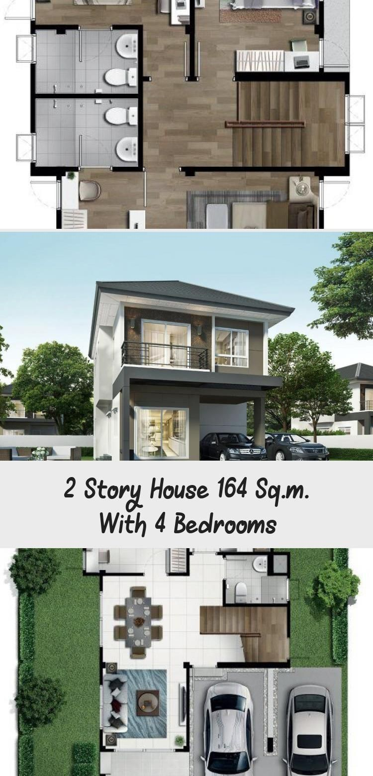 2 Story House 164 Sq M With 4 Bedrooms House Description Number Of Floors 2 Storey Housebedroom 4 Roomstoilet In 2020 Story House Floor Plan 4 Bedroom 2 Story Houses