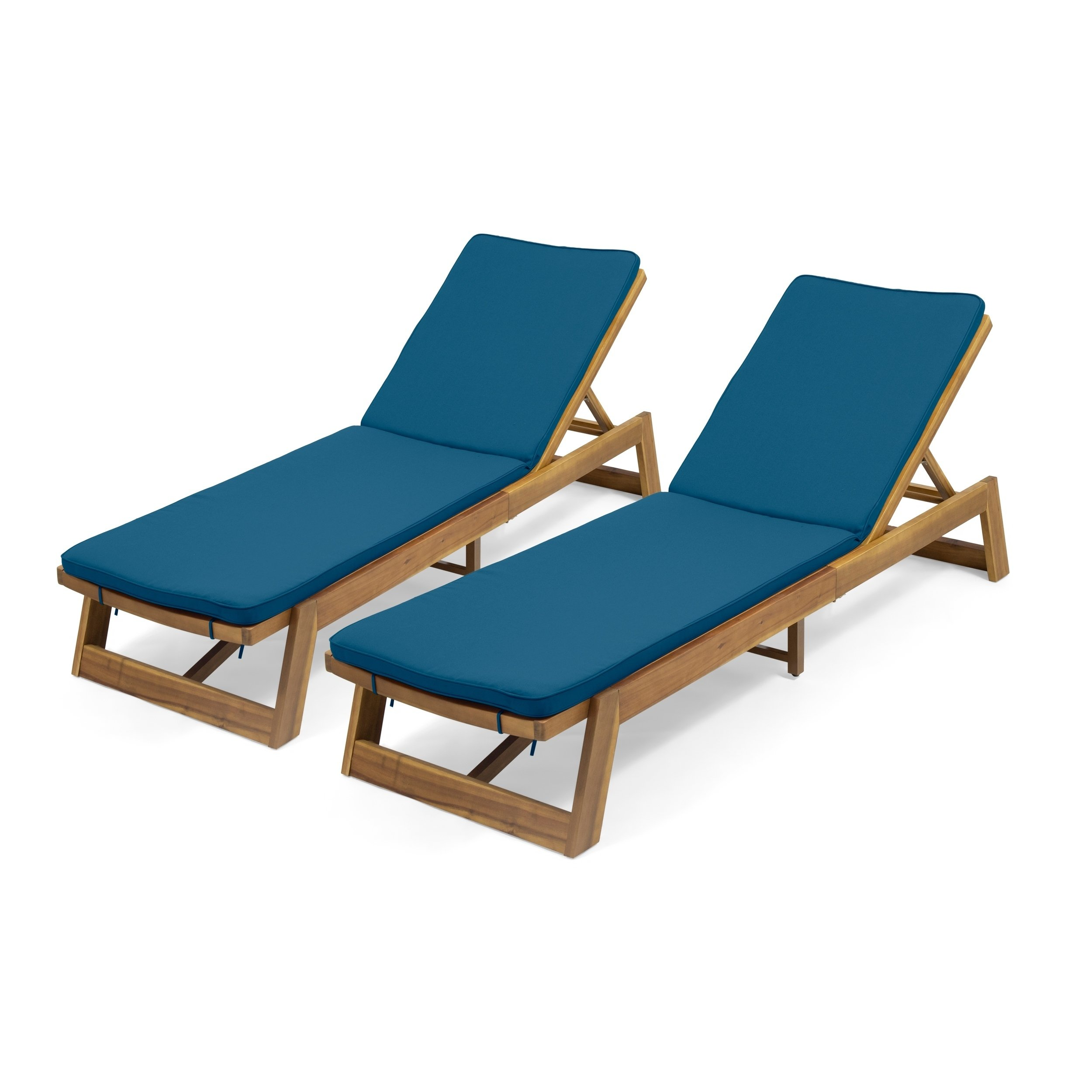 - Maki Outdoor Acacia Wood Chaise Lounge And Cushion Sets (Set Of 2