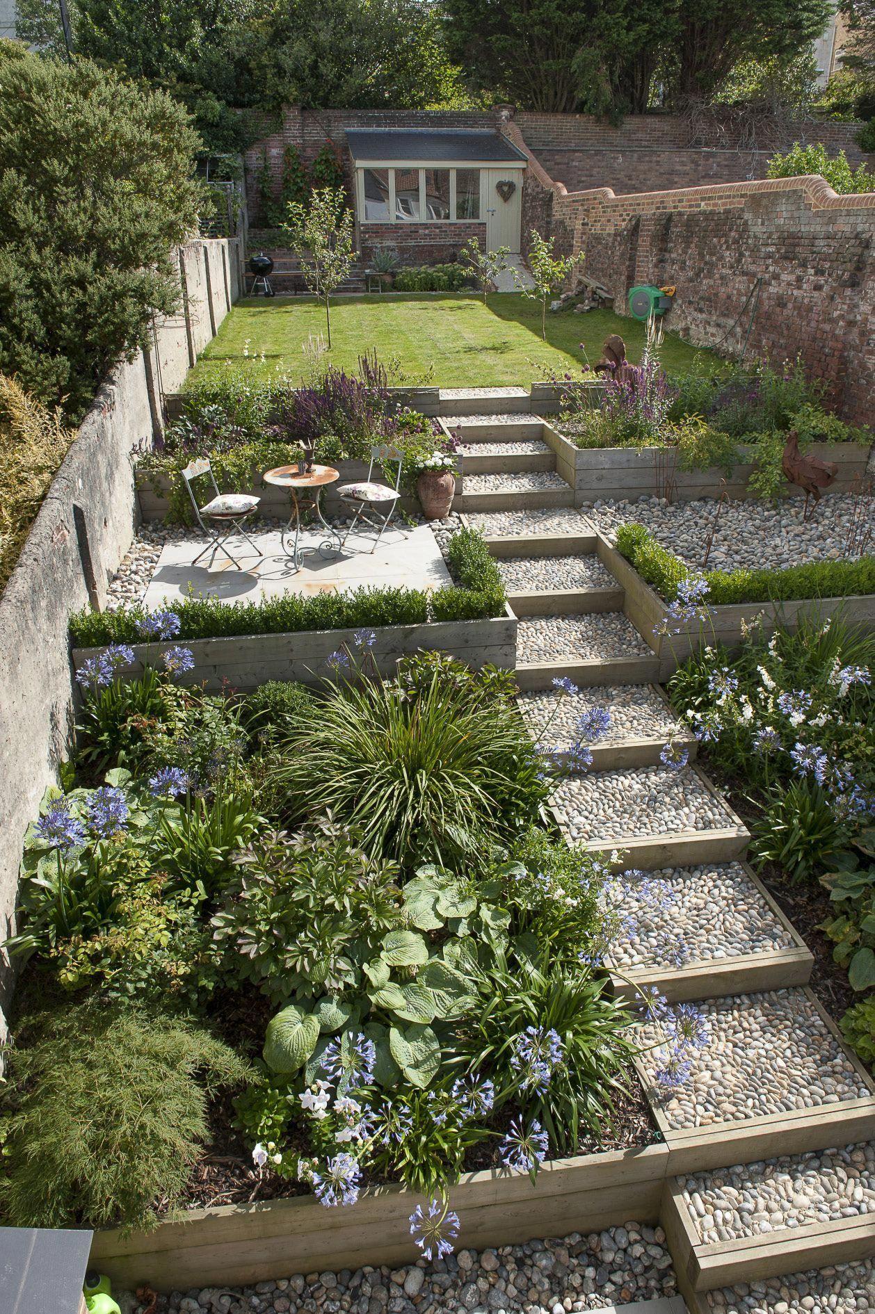 Sloped Garden Idea #SlopedGardenIdea | Small cottage ...