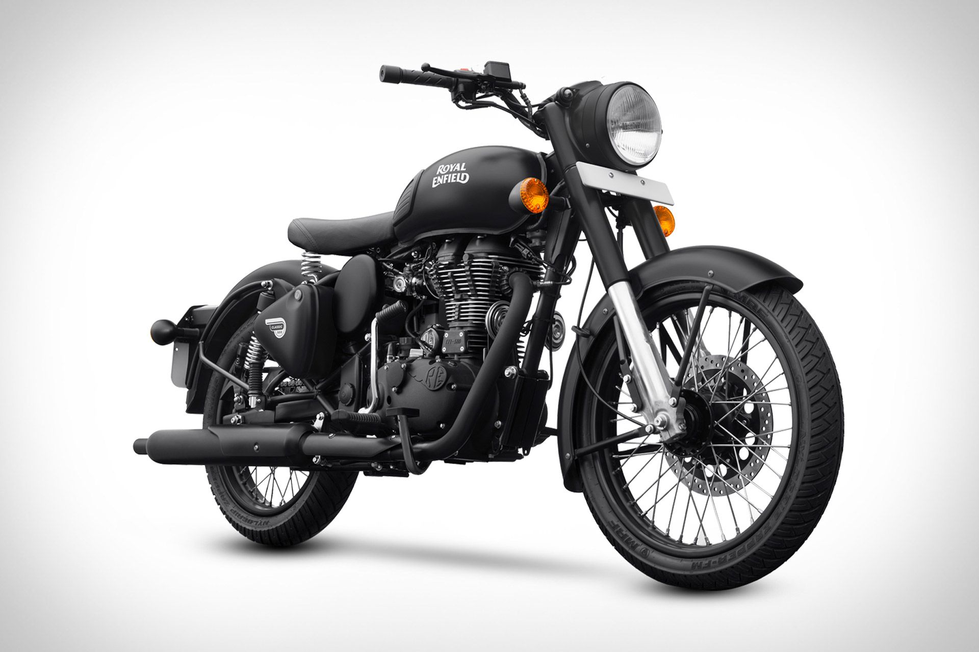 Royal Enfield Classic 500 Stealth Black Motorcycle In 2020 Enfield Classic Royal Enfield Enfield Motorcycle