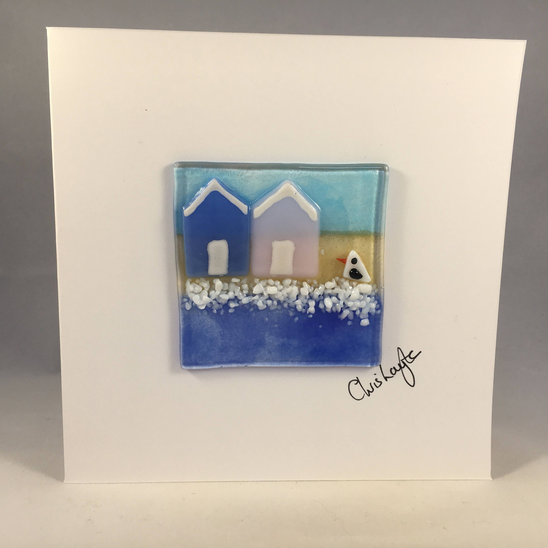 Fused Glass Greeting Card Handmade Beach Huts Seaside Card