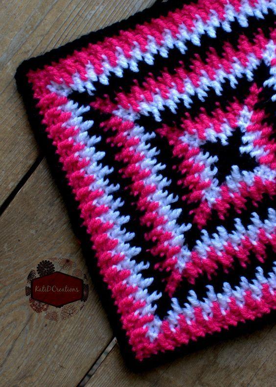 Mosaic Ripples Crochet Square Free Pattern Katidcreations