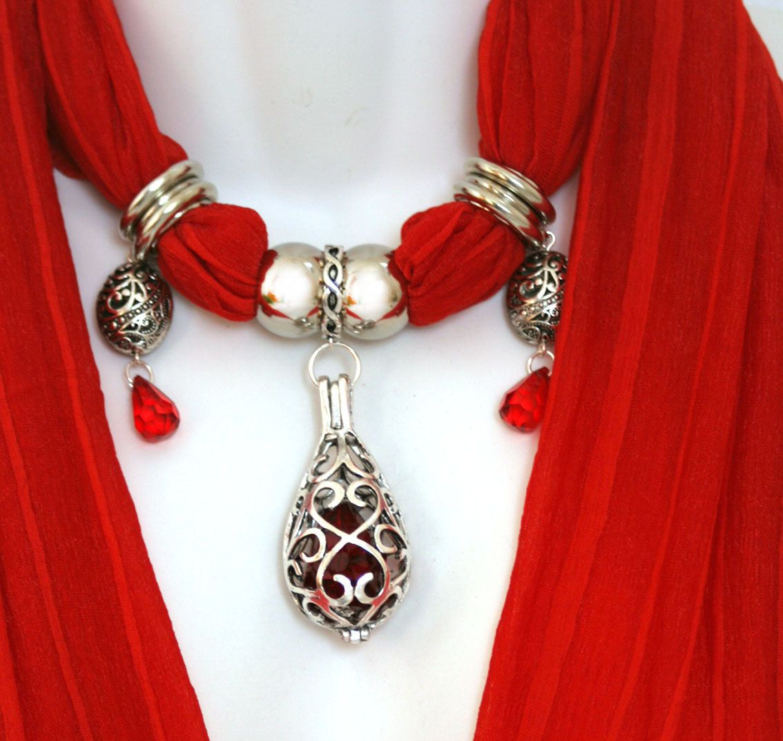 Its red and its a scarf and its red and its a scarf and i want red scarf with pendant jewelry aloadofball Choice Image