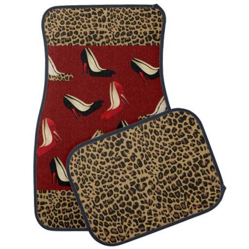 Fashionable Jaguar And Stiletto Print Car Mat Set Pinterest